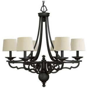 Progress Lighting Meeting Street 105 in. 60 W 6-Light Candelabra Chandelier in Forged Black PP456780