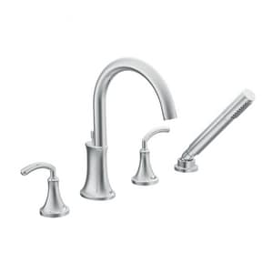 Moen Icon™ Roman Tub Faucet with Hand Shower Double Lever Handle High Arc MTS964