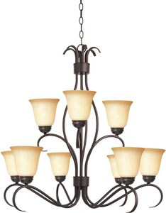 Maxim Lighting International Basix 100 W 9-Light Medium Chandelier with Wilshire Glass in Oil Rubbed Bronze M10128WSOI