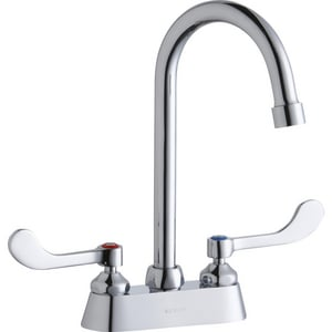 Elkay 2-Hole Deckmount Service Sink Centerset Faucet with Double Wristblade Handle in Polished Chrome ELK406GN05T4
