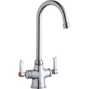 Elkay 1-Hole Scrub and Handwash Faucet with Double Lever Handle ELK500GN05L2