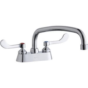Elkay 2-Hole Deckmount Handwash Centerset Faucet with Double Wristblade Handle and 12 in. Spout Reach ELK406AT12T4