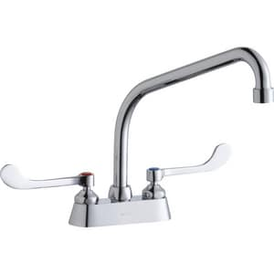 Elkay 2.2 gpm Double Lever Handle Deckmount Commercial Faucet in Polished Chrome ELK406HA10T6