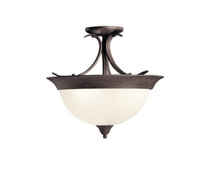 Kichler Lighting 14 x 15-1/4 in. 60W 3-Light Medium Semi-Flush Mount Ceiling Fixture KK3623
