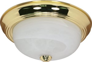 Nuvo Lighting 5-3/8 in. 60W 2-Light Medium E-26 Base Flushmount Ceiling Fixture in Polished Brass N60214