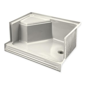 Kohler Memoirs® 48 x 36 in. Acrylic and Fiberglass Reinforced Plastic Single Threshold Rectangle Shower Base with Left Drain and Integral Seat at Right K9486