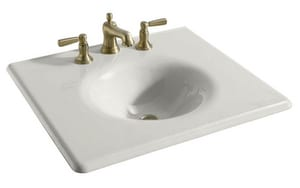 Kohler Memoirs® Rectangular Cast Iron Vanity Top Bathroom Sink with Single Faucet Hole K3048-1