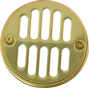 Monogram Brass® Lavatory Drain Grid without Overflow Hole Flat Grid Strainer in Polished Brass MB139440
