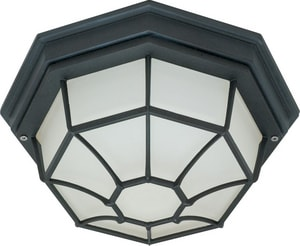 60W 1-Light Die-Cast Caged Outdoor Ceiling Light with Glass Lens N6053