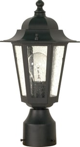 Cornerstone 60W 1-Light Medium Outdoor Post Lantern with Clear Seeded Glass in Textured Black N60996