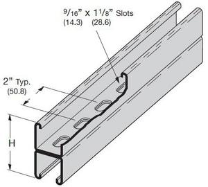 10 ft. 1-5/8 x 1-5/8 in. 12 ga Aluminum Half Slot Strut GST7882S12A2S1