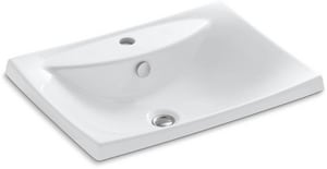 Kohler Escale® 1-Hole Round In Square Drop-In Bathroom Sink K19029-1