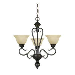 Millennium Lighting Devonshire® 100 W 3-Light Medium Chandelier with Florentine Scavo Glass in Burnished Gold M6073BG