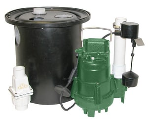 Zoeller 115 V Single Port Drain Pump System with Polypropylene Basin & Lid Z1350005