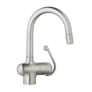 Grohe Ladylux™ Cafe 1.75 gpm Single Lever Handle Pull-Out Bar Faucet with Dual Spray G32256