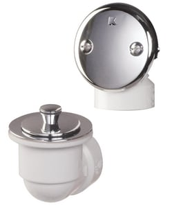 Keeney 1- 1/2 in. 40 PVC Bath Drain Brass Lift and Turn (Less) Pipe and Tee 2- Hole Face Plate Polished Chrome KEE621PVC