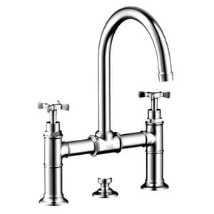 AXOR Montreux Double Cross Handle Widespread Lavatory Faucet in Polished Chrome AX16510001