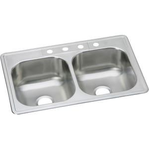 Dayton Elite 4-Hole 2-Bowl Stainless Steel Kitchen Sink DDSE23321