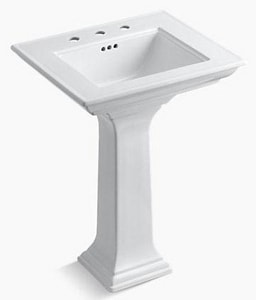 Kohler Memoirs® 3-Hole Pedestal Bathroom Sink with Overflow Drain K2344-8