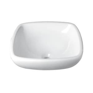 DECOLAV® Classically Redefined™ Rounded Square Semi-Recessed Lavatory Ceramic White D1423CWH