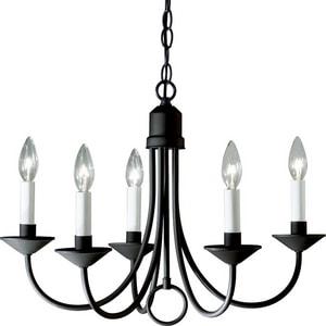 Progress Lighting Five Light 21 in. 60W 5-Light Incandescent Chandelier in Black PP400831