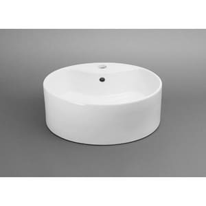 Ronbow Single Hole Round Ceramic Vessel with Overflow R200211WH