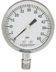 Ashcroft 3-1/2 x 1/4 in. Bottom Mount Medium Turn Pressure Gauge with Glycerine Filled A351009SWL02L300