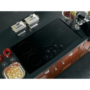 General Electric Appliances Profile™ 36 in. Built-In Clean Smooth Electric Cooktop in Black GPP962BMBB