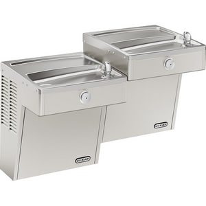 Elkay Vandal Resistant Wall- Mount Bi- Level ADA Cooler with Tamper- Resistant Pushbutton and One- Piece Bubbler EVRCTL8SC