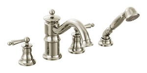 Moen Waterhill™ 4-Hole High Arc Roman Tub Faucet with Double Lever Handle MTS213