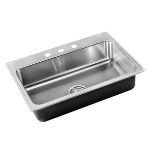 Just Manufacturing Stylist Group 3-Hole 1-Bowl Topmount Rectangular Kitchen Sink with Faucet Ledge JSL2133A3