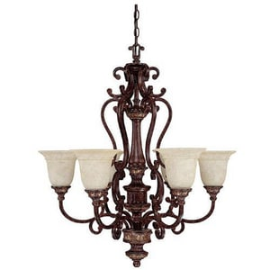 Capital Lighting Fixture Chesterfield 32-3/4 in. 100 W 6-Light Medium Chandelier in Chesterfield Brown C3636CB283