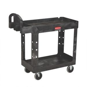 Rubbermaid Heavy Duty 2 Shelf Utility Cart Black RFG452088BLA