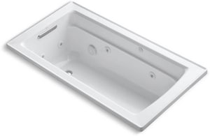 Kohler Archer® 60 x 32 in. Drop-In Acrylic Rectangular Bathtub with End Drain and Heater K1122-H