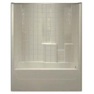 Aquarius Industries Luxury 60 x 32-1/2 in. Tub and Shower with Left Hand Drain in Biscuit AG3206TSTILELBIS