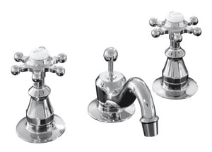 Kohler Antique™ 3-Hole Deckmount Widespread Lavatory Faucet with Double Cross Handle and 1-1/4 in. Spout Height K108-3