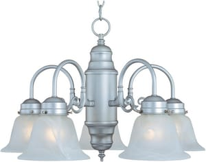 Maxim Lighting International Builder Basics 14-1/2 in. 100 W 5-Light Medium Chandelier in Satin Nickel M91197MRSN