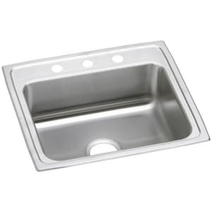 Elkay Gourmet Pacemaker® 1-Bowl Topmount Kitchen Sink with Center Drain in Brilliant Satin EPSR2522