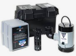 Glentronics 2400 gph. AC/DC Battery Back Up Sump Pump System GPHCC2400