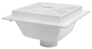 Sioux Chief 14- 1/8 x 8- 7/16 x 4 in. Square Floor Sink 40- Hub PVC Strainer with Lift Handle S8614P