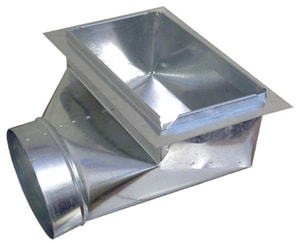 Royal Metal Products 30 ga 90° Ceiling Register Boot with Frame and 26 in. Plate R35761