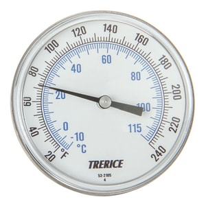 H.O. Trerice X-Series 1/2 in. 4 in. Stem 0-250 Degree F Rear Bimetal Thermometer TB83104X27