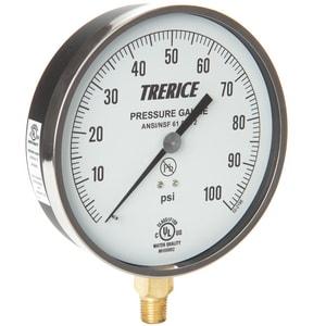H.O. Trerice 4-1/2 in. Pressure Gauge in Brass T600CB4502LA110
