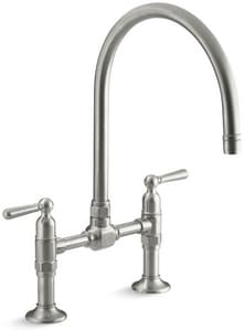 Kohler HiRise™ 2.2 gpm Double Lever Handle Deckmount Kitchen Sink Faucet 360 Degree Swivel High Arc Spout Gooseneck Spout 1/2 in. NPSM Connection K7337-4