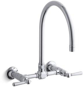 Kohler HiRise™ 2-Hole Bridge Kitchen Sink Faucet with Double Lever Handle K7338-4