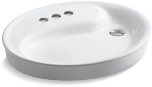 Kohler Yin-Yang® Drop-In Bathroom Sink with 4-Faucet Hole and Overflow K2354-4