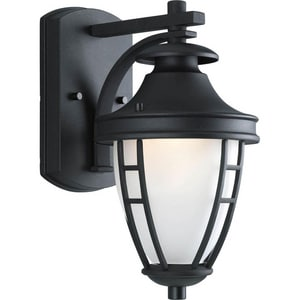 Progress Lighting Fairview 75 W 1-Light Medium Small Wall Lantern in Black PP577531