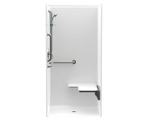 Aquatic Industries FreedomLine 36 x 36 in. Shower with Right Hand Seat and Grab Bar in White A1363BFSCMARWH
