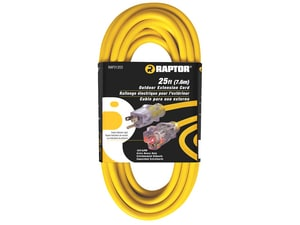 RAPTOR® 12/3 25 ft. SJTW Extension Cord Lgtd Yellow RAP31203
