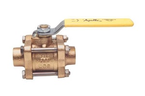 Apollo Conbraco 82-200 Series 600# Bronze Threaded x Socket Welding x Solder Joint 3-Piece Full Port Ball Valve with Lever Handle A8220F1